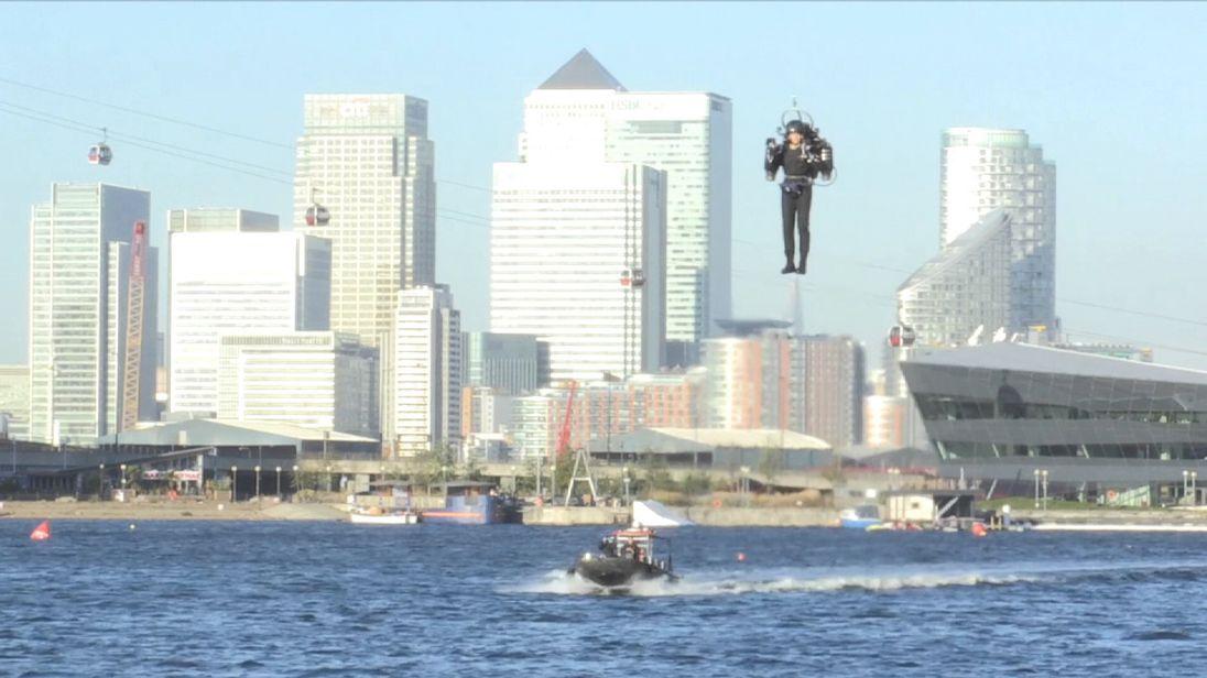 Jetpack flight around Royal Victoria Dock