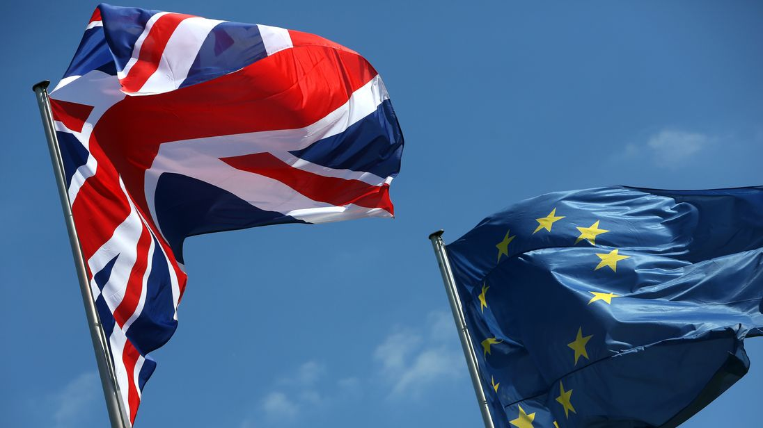 The Union Jack and EU flags.