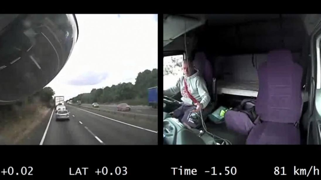 Footage from Kroker's dash-cam shows him on the phone ahead of the  stationary traffic queue