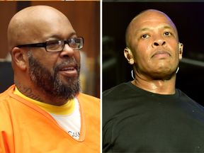 Former gangsta rap mogul Marion 'Suge' Knight and hip-hop star Dr. Dre