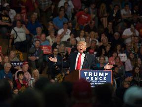 Donald Trump speaking at a rally in Ambridge, Pennsylvania
