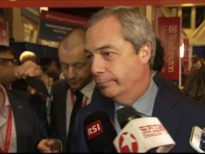 Nigel Farage reacts to the second US presidential debate