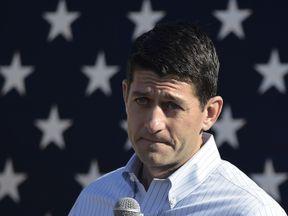 House Speaker Paul Ryan speaks in Wisconsin on 8 October