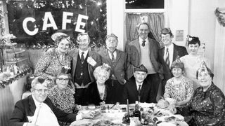 The cast of Last of the Summer Wine in a 1989 Christmas special. Alexander, who played Aunty Wainwright, is third from the left in the front row