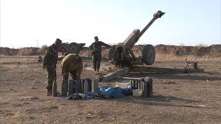 Peshmerga artillery in the hills above Mosul, Iraq