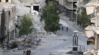 A rebel-held neighbourhood of Aleppo, Syria,