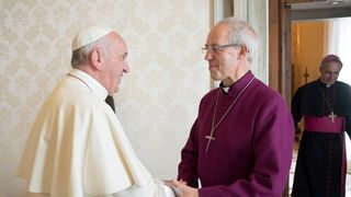 Pope Francis welcomes Justin Welby to the Vatican