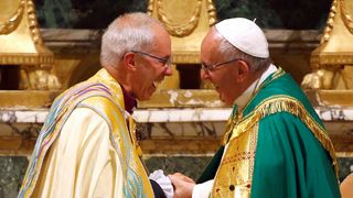 All smiles for the Pope and the Archbishop after they pray together
