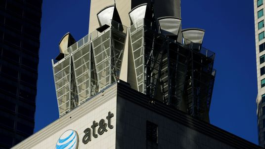 An AT&T logo is shown on a building in downtown Los Angeles