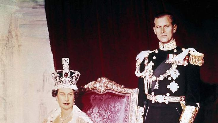 Queen Elizabeth II and Prince Philip pose on the Queen's Coronation Day