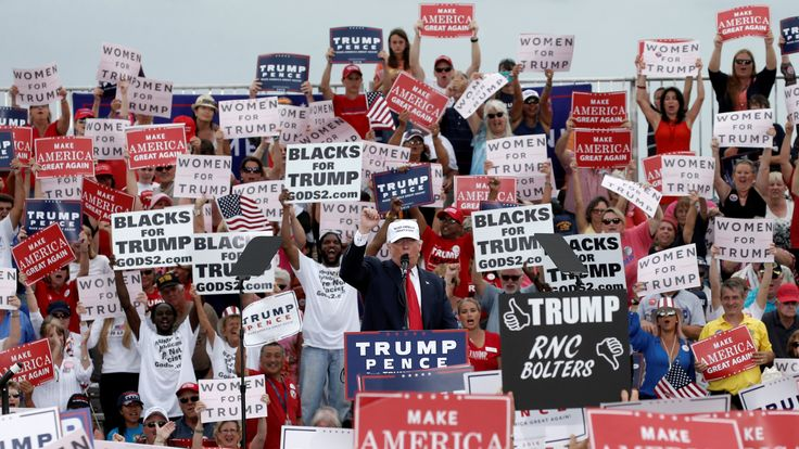 Donald Trump and his supporters at a rally in Florida