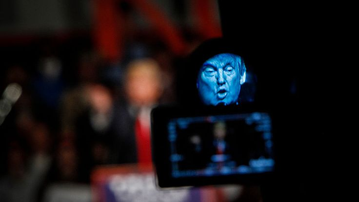 Donald Trump speaks at a rally in Bangor, Maine