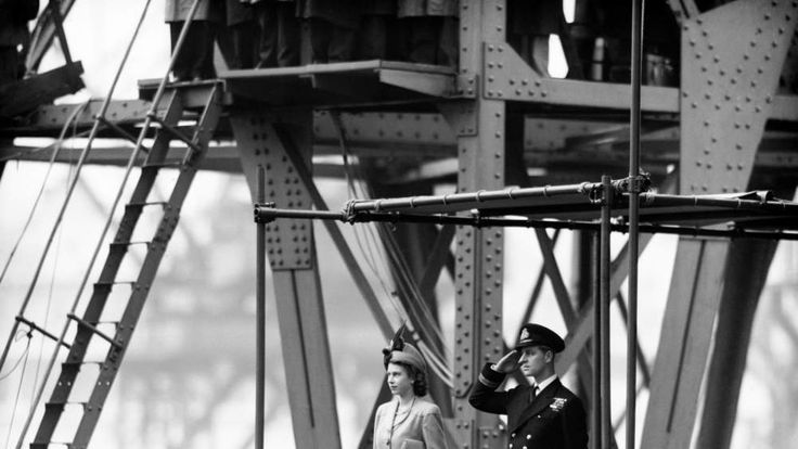 Princess Elizabeth with Lieutenant Mountbatten watch the launching of RMS Caronia at Clydebank in October 1947