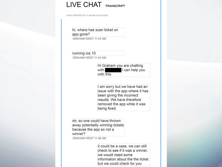 A web chat between a Camelot staff member and Graham West