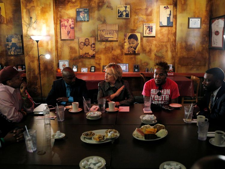 Hillary Clinton meets with leaders from the African American community in Charlotte, North Carolina