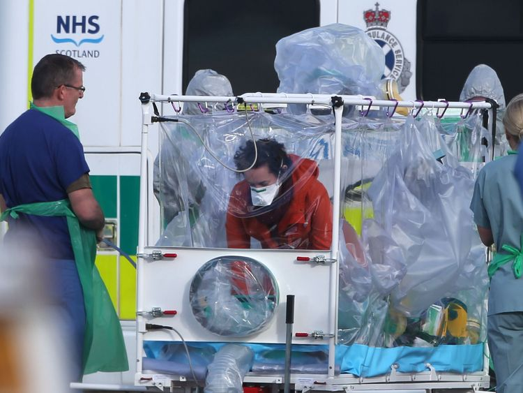 The nurse was placed in an isolation tent when she was transferred from Glasgow to London in February