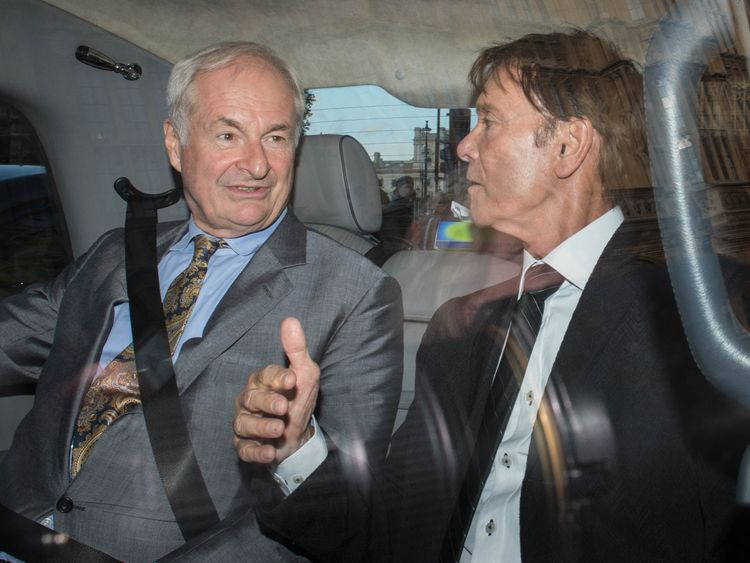 Sir Cliff Richard, right, and DJ Paul Gambaccini took their campaign to Westminster