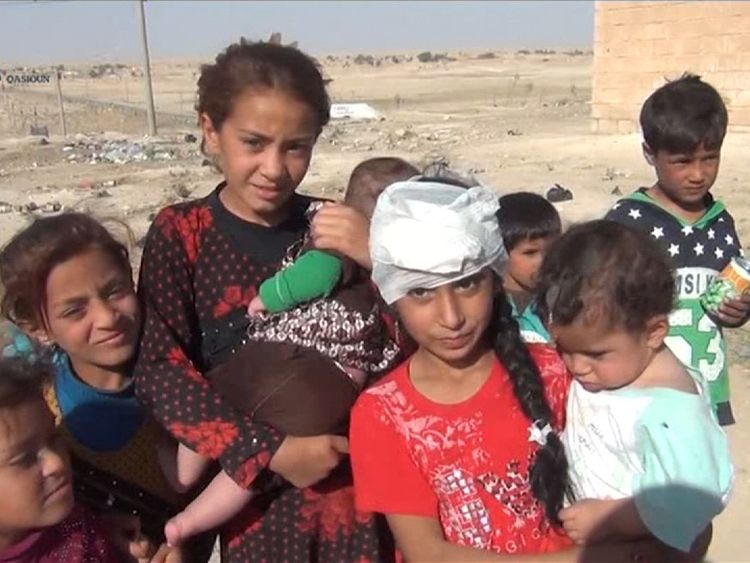 Refugees from Mosul who have made it to a camp in Syria