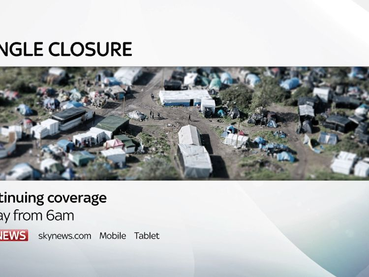 Live coverage of the 'jungle' closure on Sky News from 6am