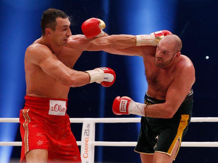 Wladimir Klitschko and Tyson Fury during their world heavyweight title fight