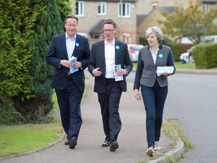 Former PM David Cameron (L) and current PM Theresa May (R) campaign in Witney with Conservative Party candidate Robert Courts (C)