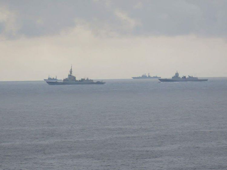 Pics of the Russian fleet taken from a North Sea oil rig