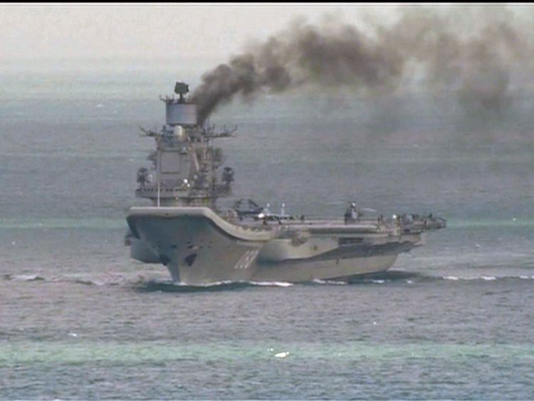 The Russian carrier Admiral Kuznetsov in the English Channel