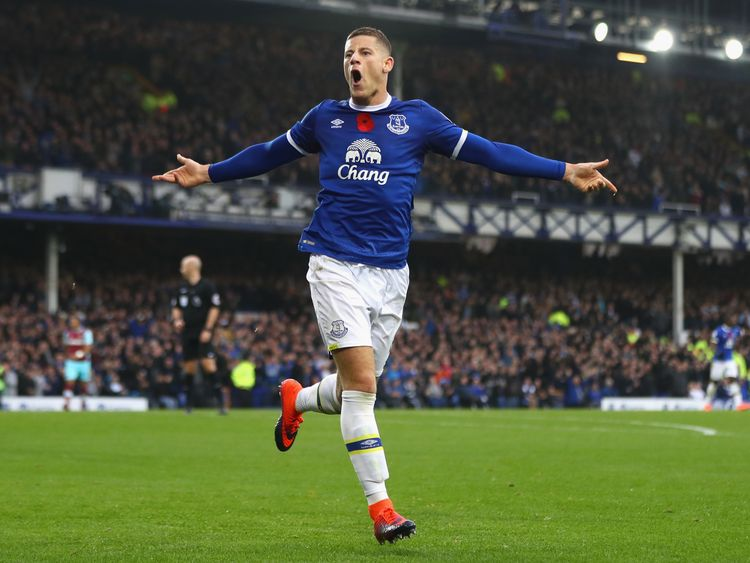 Ross Barkley of Everton celebrates scoring his sides second goal against West Ham. Everton won 2-0
