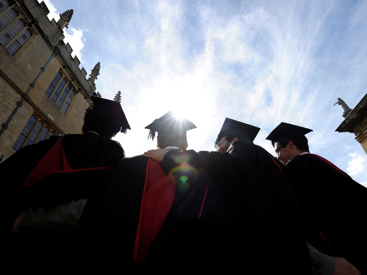 A group of Oxford University graduates celebrate