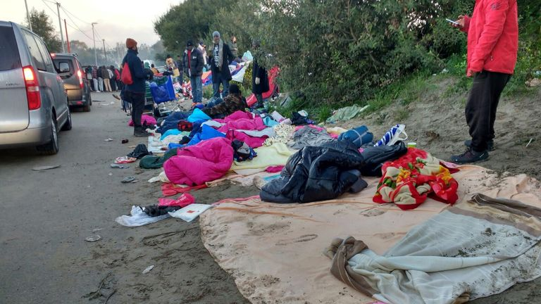 Minors were among those who slept outside the camp. Picture: Help Refugees UK