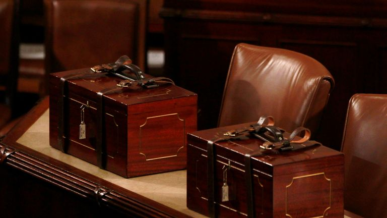 Leather-strapped wooden boxes containing the Electoral College vote certificates for the 2012 US Presidential election