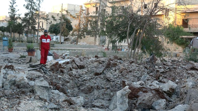 The site of a medical facility destroyed by bombing in Aleppo