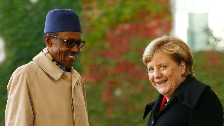 Chancellor Angela Merkel greets President Buhari in Berlin