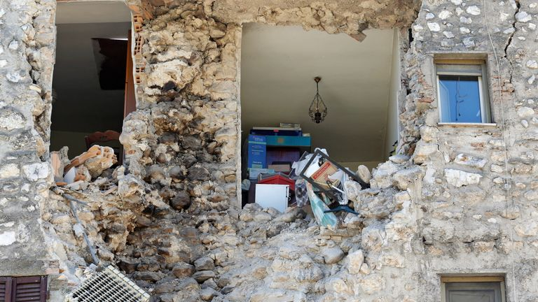 Walls collapse exposing the inside of a home