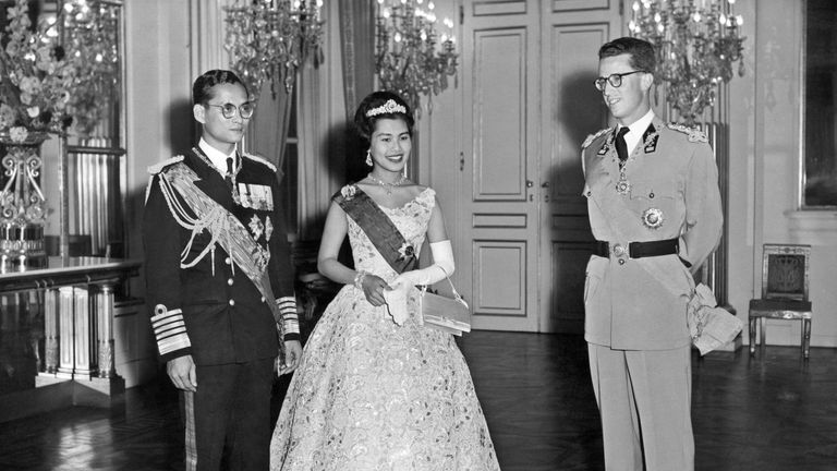 Thai King Bhumibol Adulyadej and Queen Sirikit with Belgium King Baudouin I, during a visit to Belgium in 1960