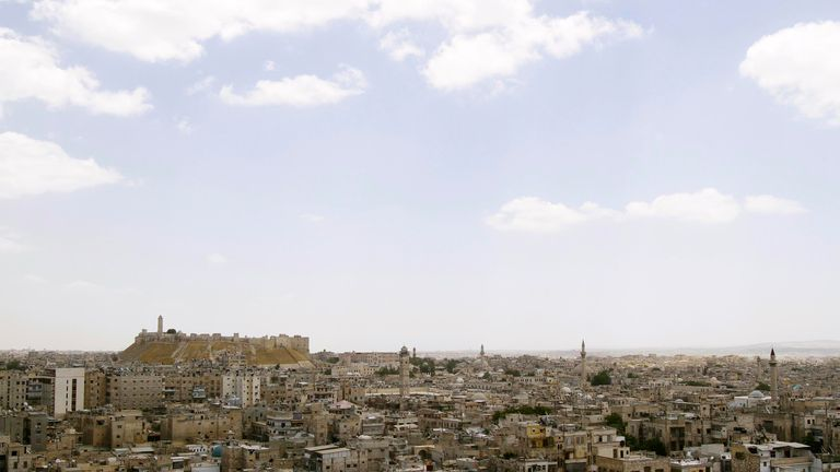 A view shows the skyline of the Syrian city of Aleppo
