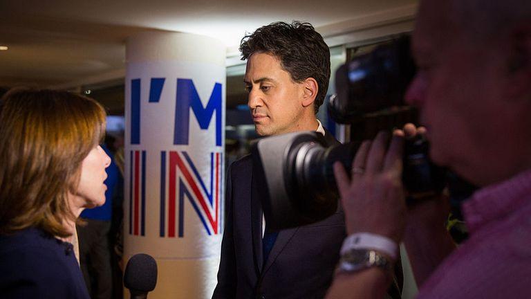 Ed Miliband talks to Sky News during the EU campaign