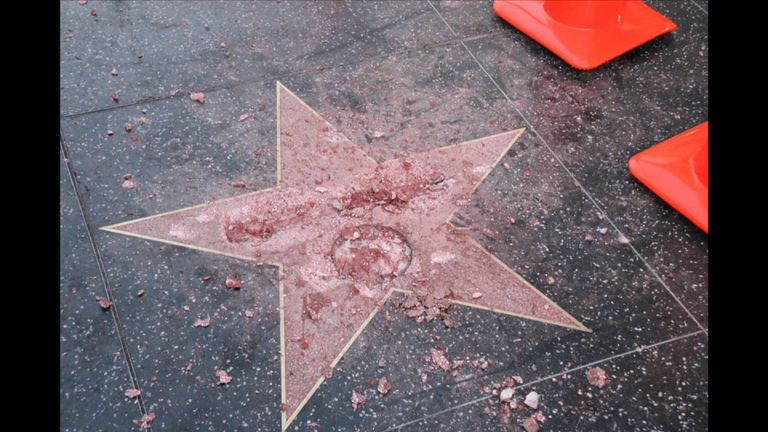 Donald Trump's star on the Hollywood Walk of Fame has been vandalised - Oct 26 2016