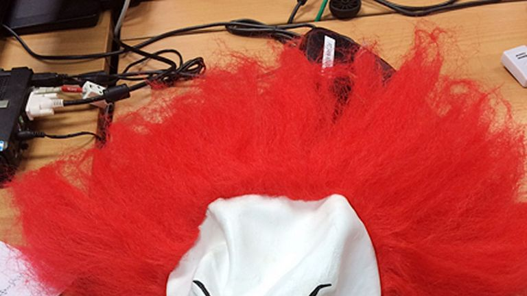 The clown mask worn by a girl in Telford who was arrested and cautioned