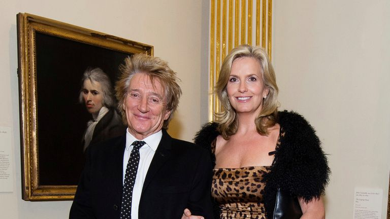 Rod Stewart and Penny Lancaster attend a reception and awards ceremony at the Royal Academy of Arts in London