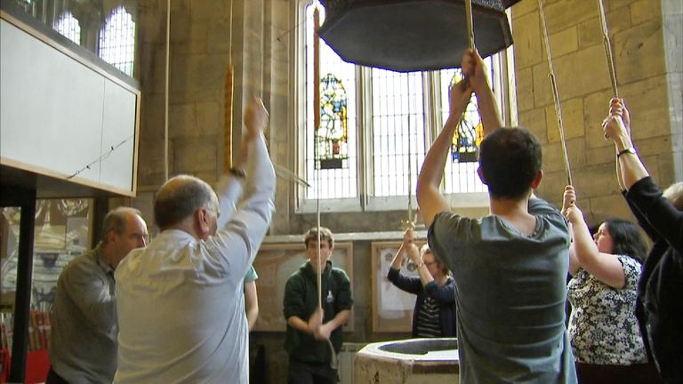 The bell ringers at York Minster