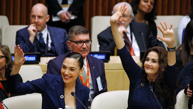 Actors Gal Gadot and Lynda Carter at the UN event in New York