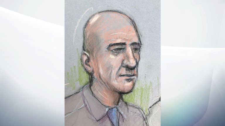 A court artist's drawing of Stephen Port, who is accused of four murders