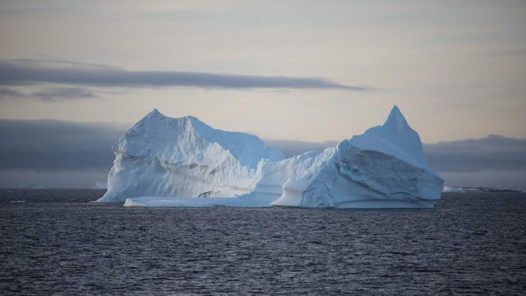 An iceberg is pictured in the western Antarctic peninsula, on March 02, 2016. Like seals and whales, penguins eat krill, an inch-long shrimp-like crustacean that forms the basis of the Southern Ocean food chain. But penguin-watchers say the krill are getting scarcer in the western Antarctic peninsula, under threat from climate change and fishing. AFP PHOTO/EITAN ABRAMOVICH / AFP / EITAN ABRAMOVICH (Photo credit should read EITAN ABRAMOVICH/AFP/Getty Images)