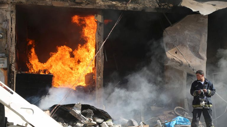 The aftermath of an alleged barrel bomb attack in al-Saliheen district in May 2015