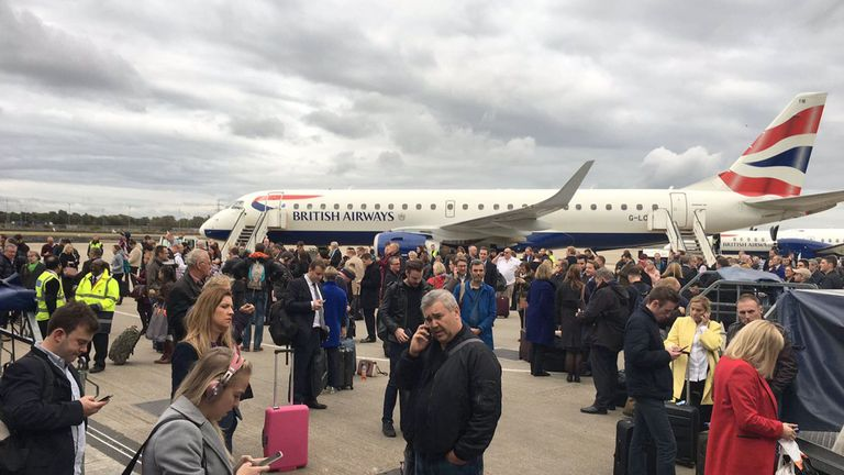 Passengers on the tarmac at London City Airport