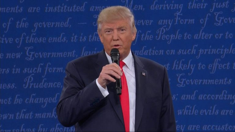 Donald Trump answers questions during the debate