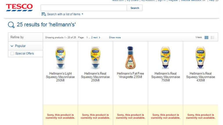 Hellman's products are also affected
