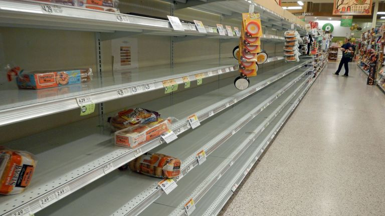 Customer stockpiling left empty shelves at this store in Florida