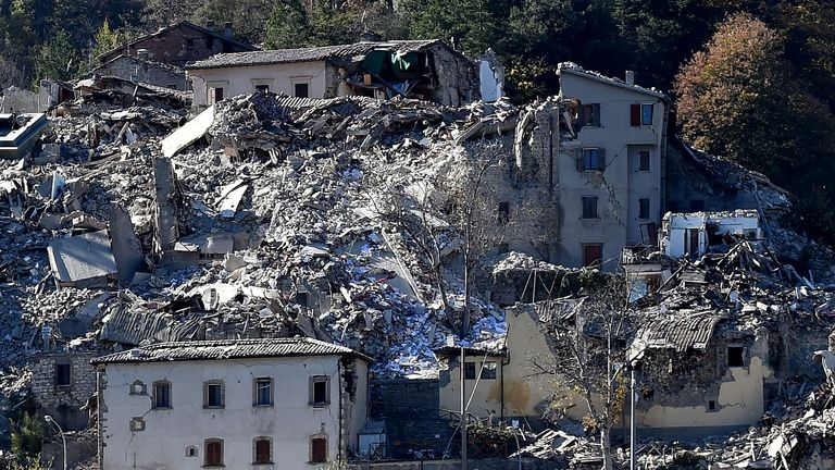 Damaged buildings in Arquata del Tronto following the powerful earthquake